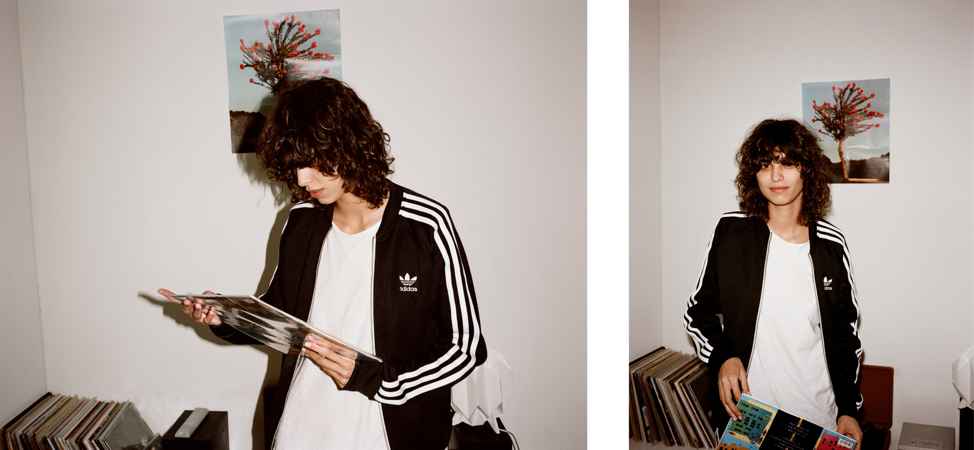 Track jacket by Adidas. T-shirt by Calvin Klein.
