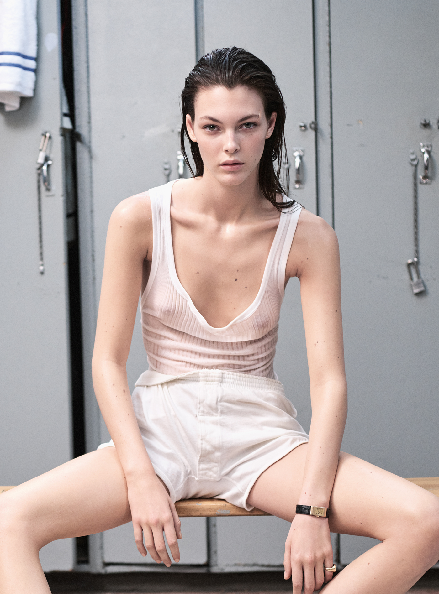 Tank top by Zimmerli. Vintage shorts from Melet Mercantile. Watch, worn throughout, by Boucheron from Aaron Faber Gallery. Ring, worn throughout, by Camilla Dietz Bergeron.