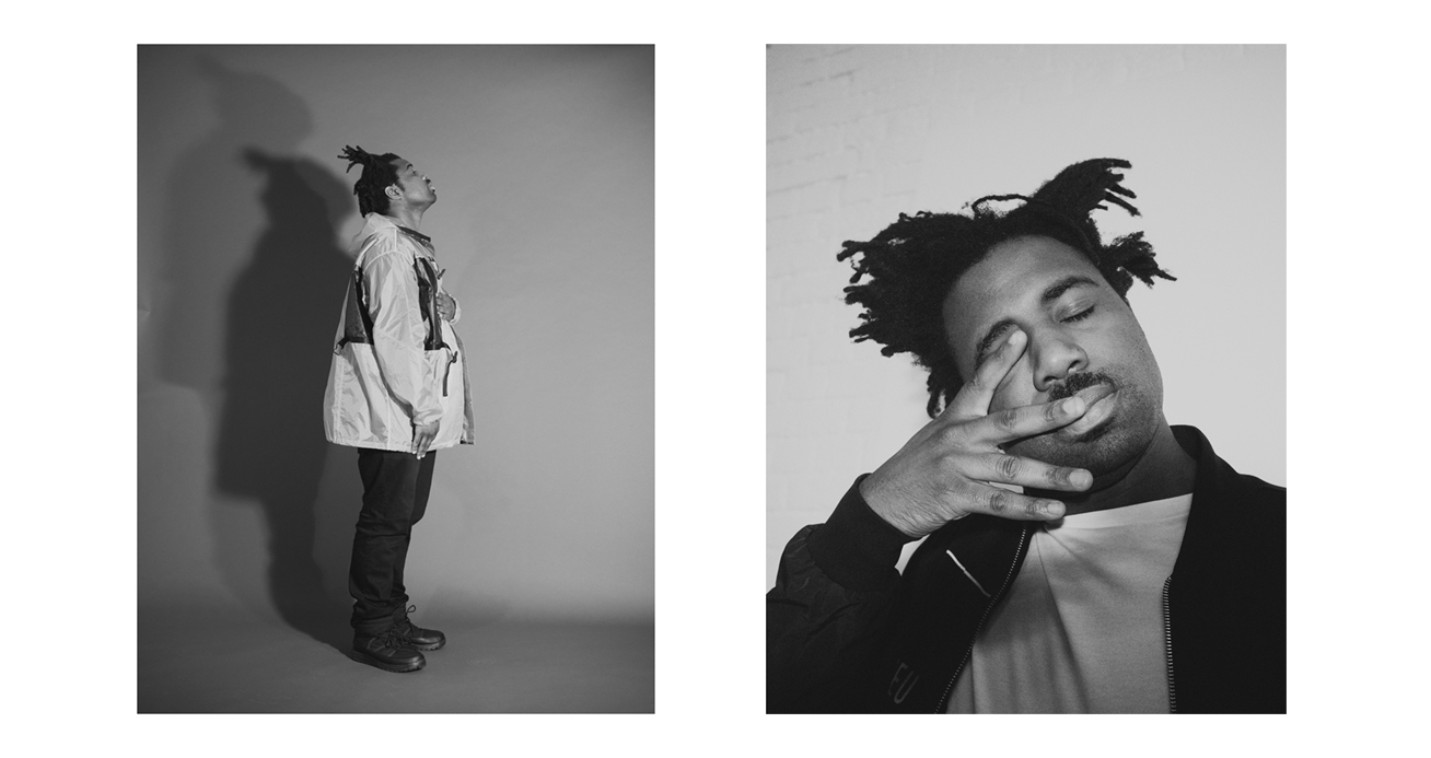 Left: Coat by Prada. Jeans and shoes, worn throughout, Sampha's own.Right: Jacket by McQ. T-shirt by Burberry.