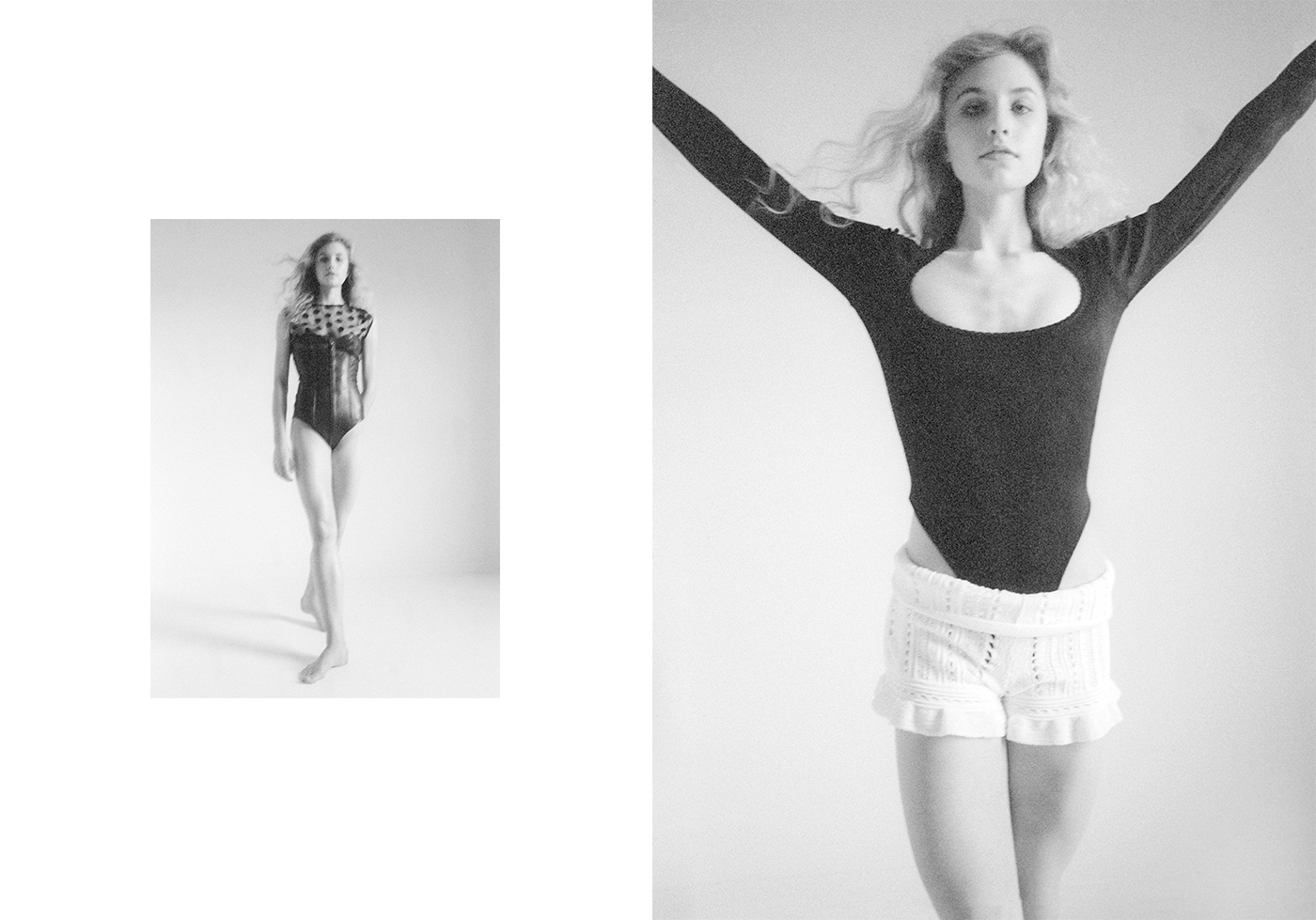Left: Vintage bodysuit by Saint Laurent. Vintage top by Stella McCartney.Right: Vintage bodysuit by Azzedine Alaïa from Marlous Borm. Shorts by 3.1 Phillip Lim.