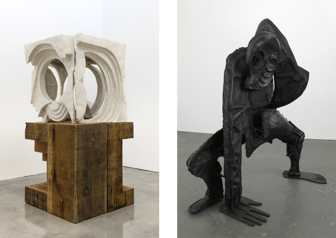 Left: Thomas Houseago, 'Design for a Museum,' 2017. Photography by Fredrik Nilsen. Courtesy of the artist and Gagosian Gallery.Right: Thomas Houseago, 'Sprawling Octopus Man,' 2009. Photography by Joshua White. Courtesy of the artist and Hauser & Wirth.