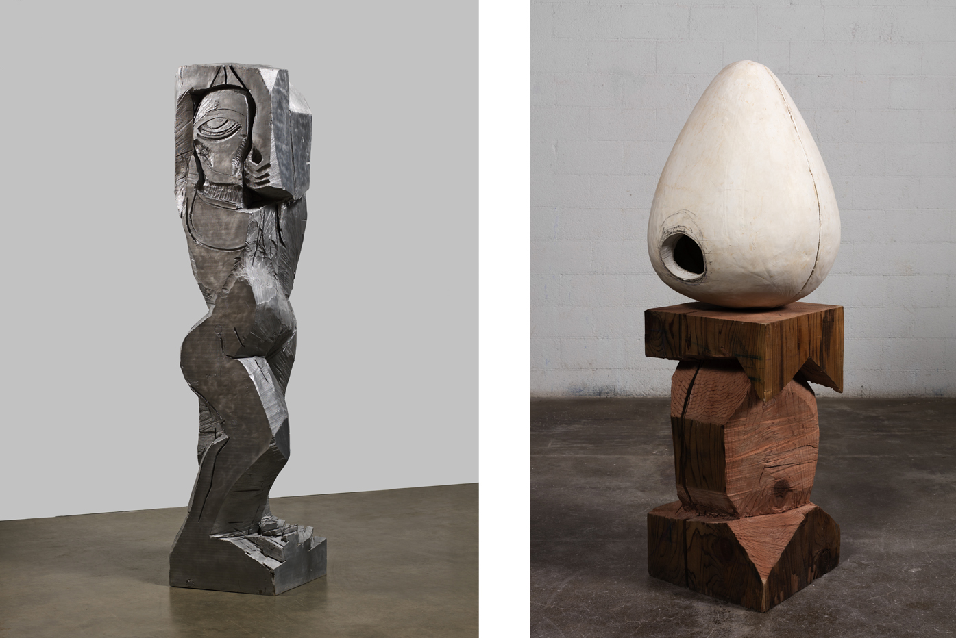 Left: Thomas Houseago, 'Rattlesnake Figure (Aluminum),' 2011. Photography by Fredrik Nilsen. Courtesy of the artist and Hauser & Wirth.Right: Thomas Houseago, 'Untitled (Egg),' 2015. Photography by Fredrik Nilsen. Courtesy of the artist and Hauser & Wirth.