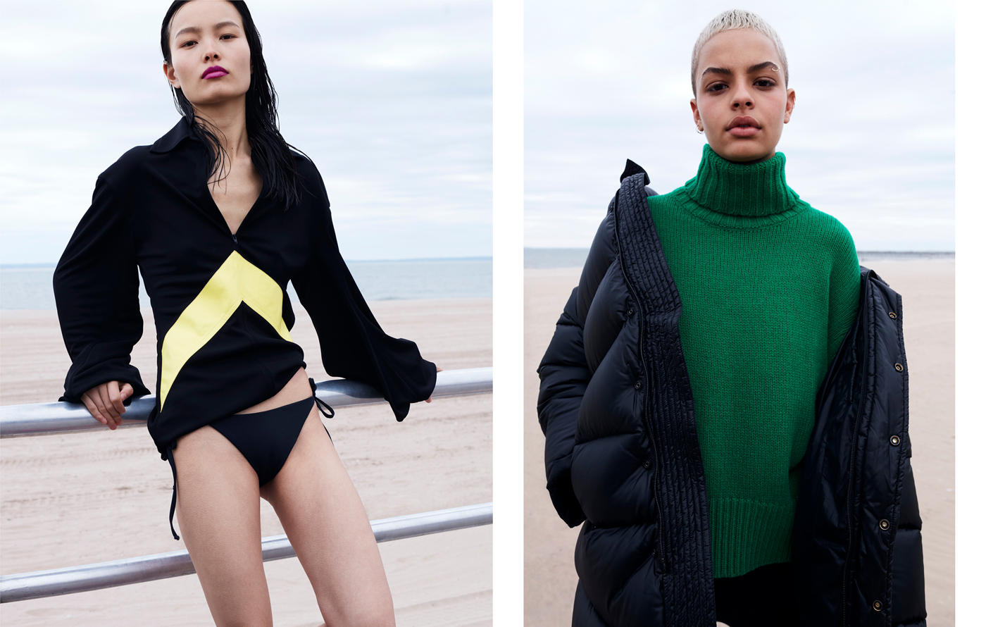 Left: Ling wears top by Céline. Swimsuit by Eres.Right: Graham wears coat by Balenciaga. Sweater by Tomorrowland.