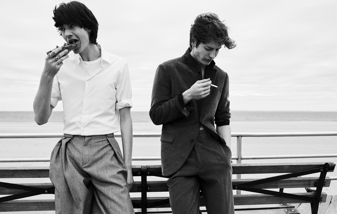 From left: Payne wears shirt and t-shirt by Gap. Trousers by Giorgio Armani. All jewelry, model's own. Nathan Morgan wears all clothing by Childs.