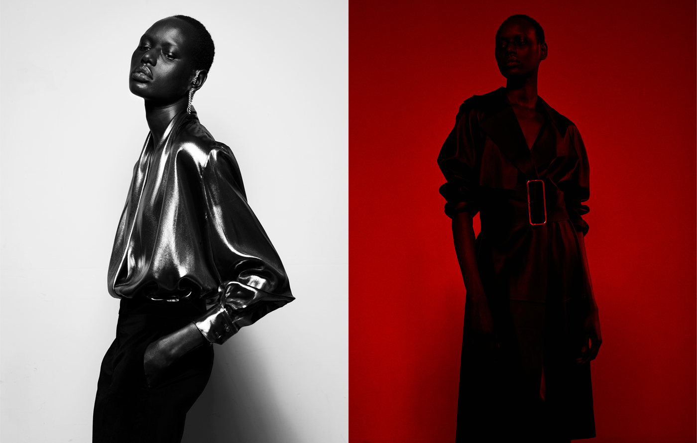 Left: Deng wears all clothing by Pallas. Vintage earrings from New York Vintage.Right: Deng wears coat by Dion Lee.
