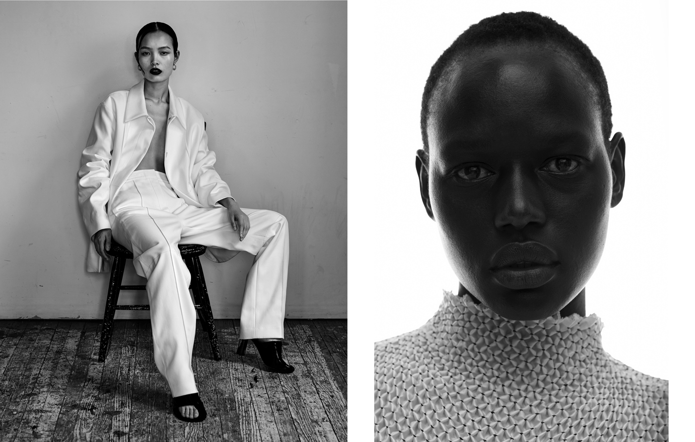 Left: Ling Liu wears jacket and trousers by The Row. Shoes by Céline. Vintage earrings from New York Vintage.Right: Ajak Deng wears top by 3.1 Phillip Lim.