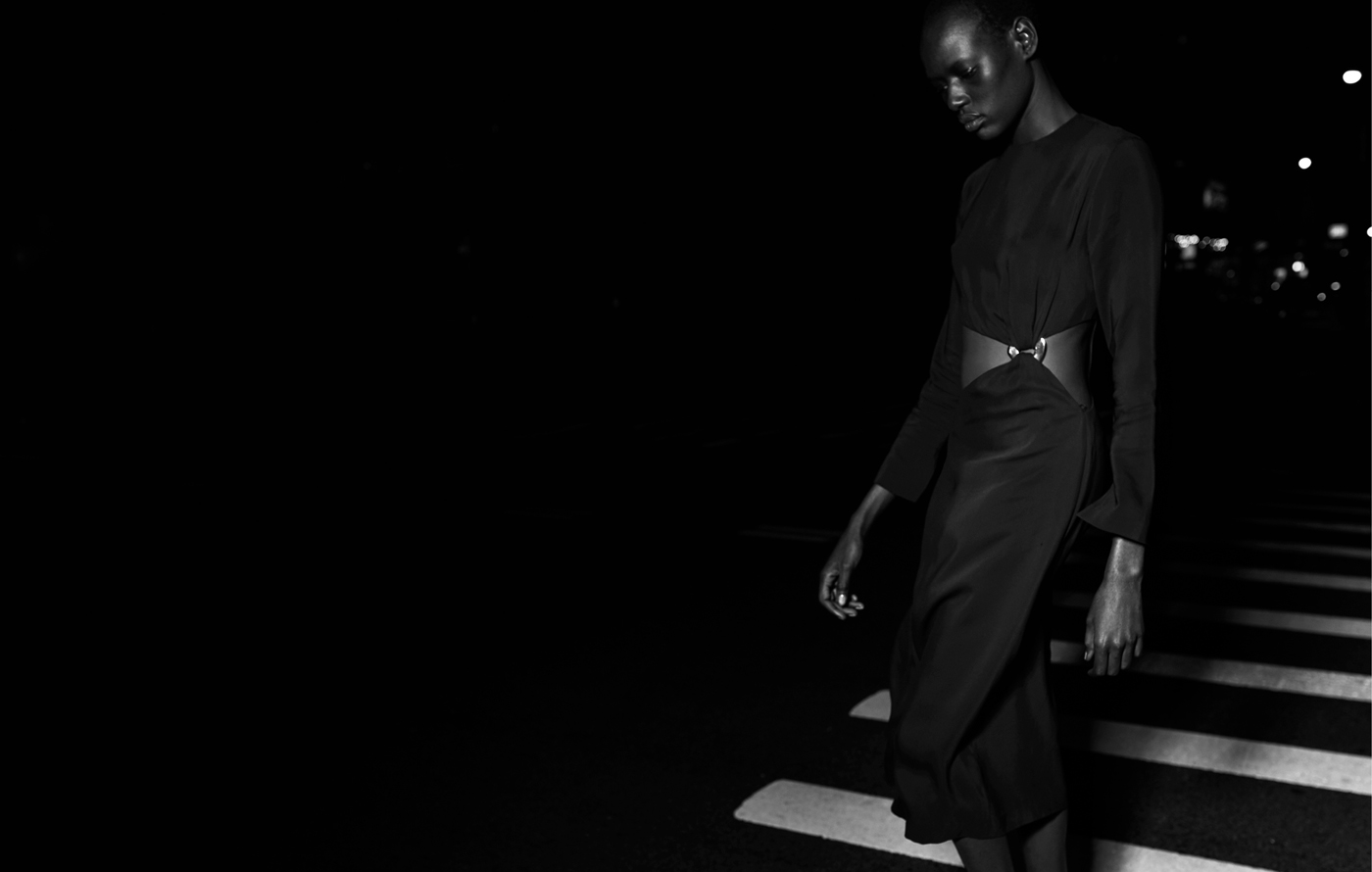 Deng wears dress by Edun.