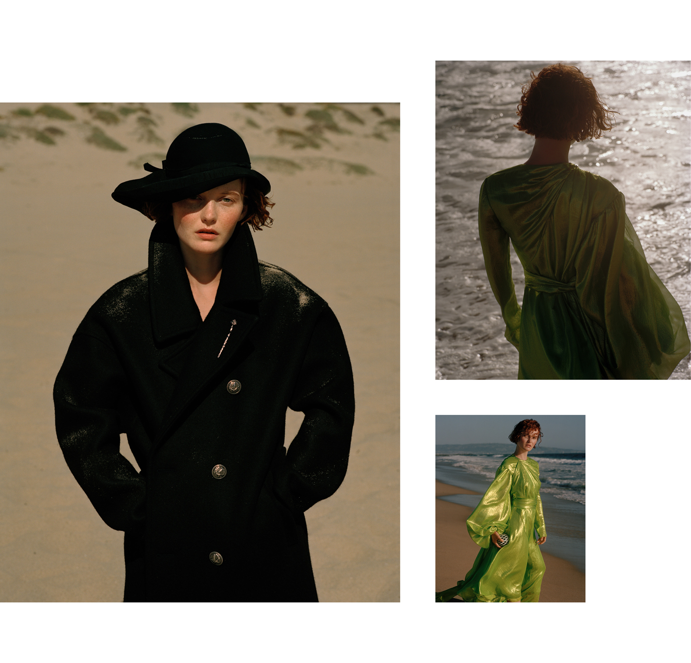 Left: Coat by Saint Laurent. Hat from Palace Costume.Right: Dress by Emilio Pucci.