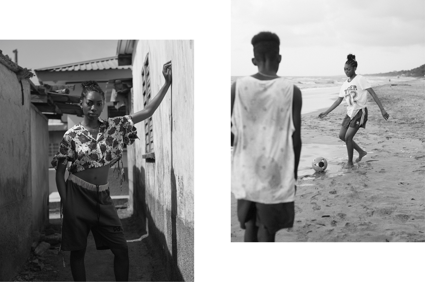 Left: Top by Alexander Wang. Shorts by Project 96.Right: Top by Roberto Cavalli. Shorts by Adidas.
