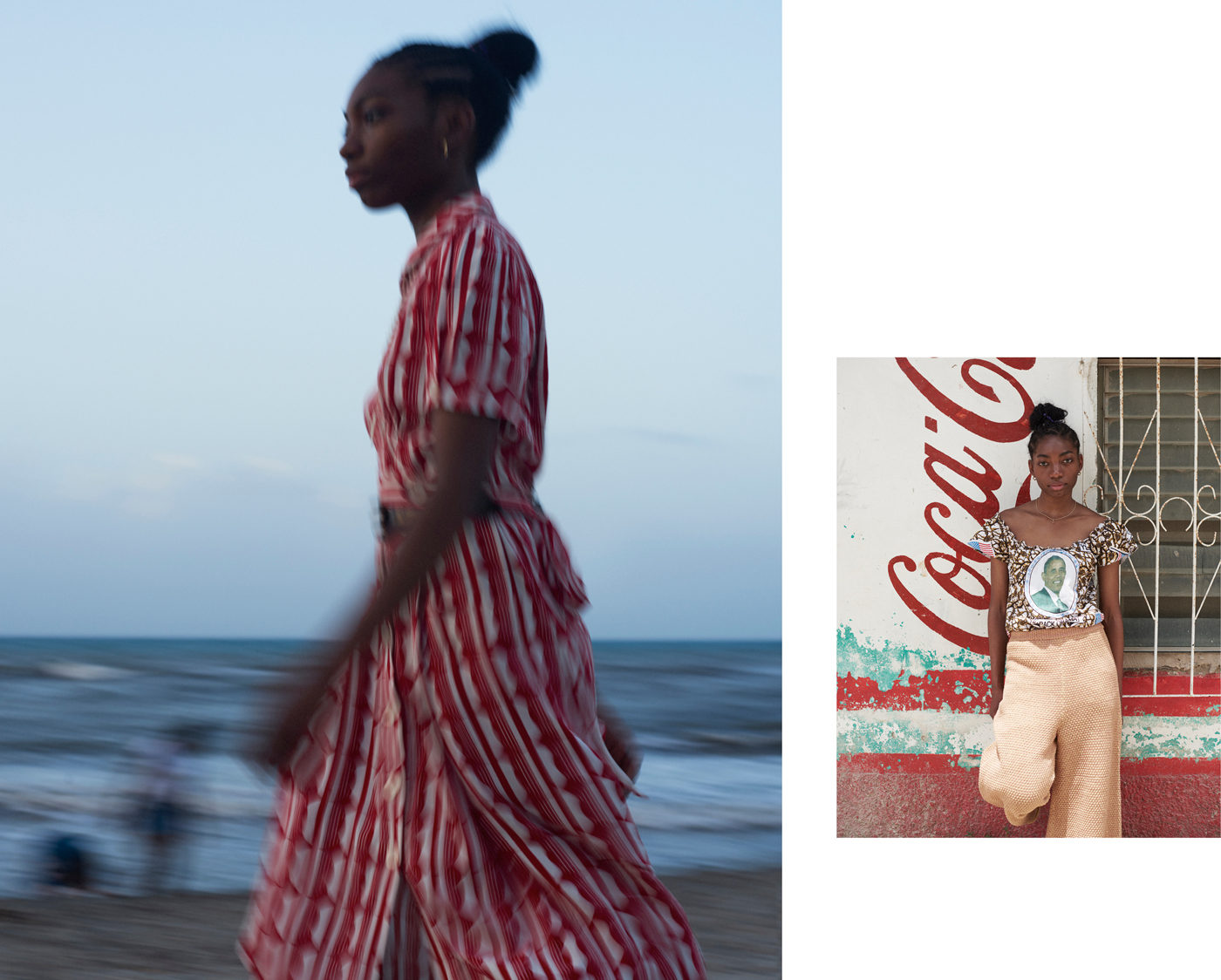 Left: Dress by Miu Miu.Right: Stylist's own top. Trousers by Eckhaus Latta.