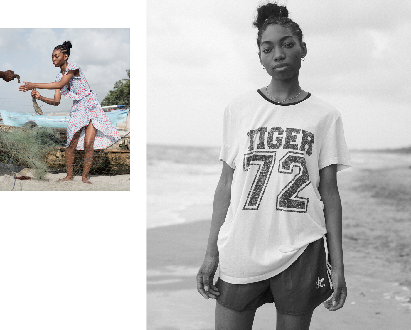 Left: Dress by Altuzarra. Earrings by Eddie Borgo.Right: T-shirt by Roberto Cavalli. Shorts by Adidas.