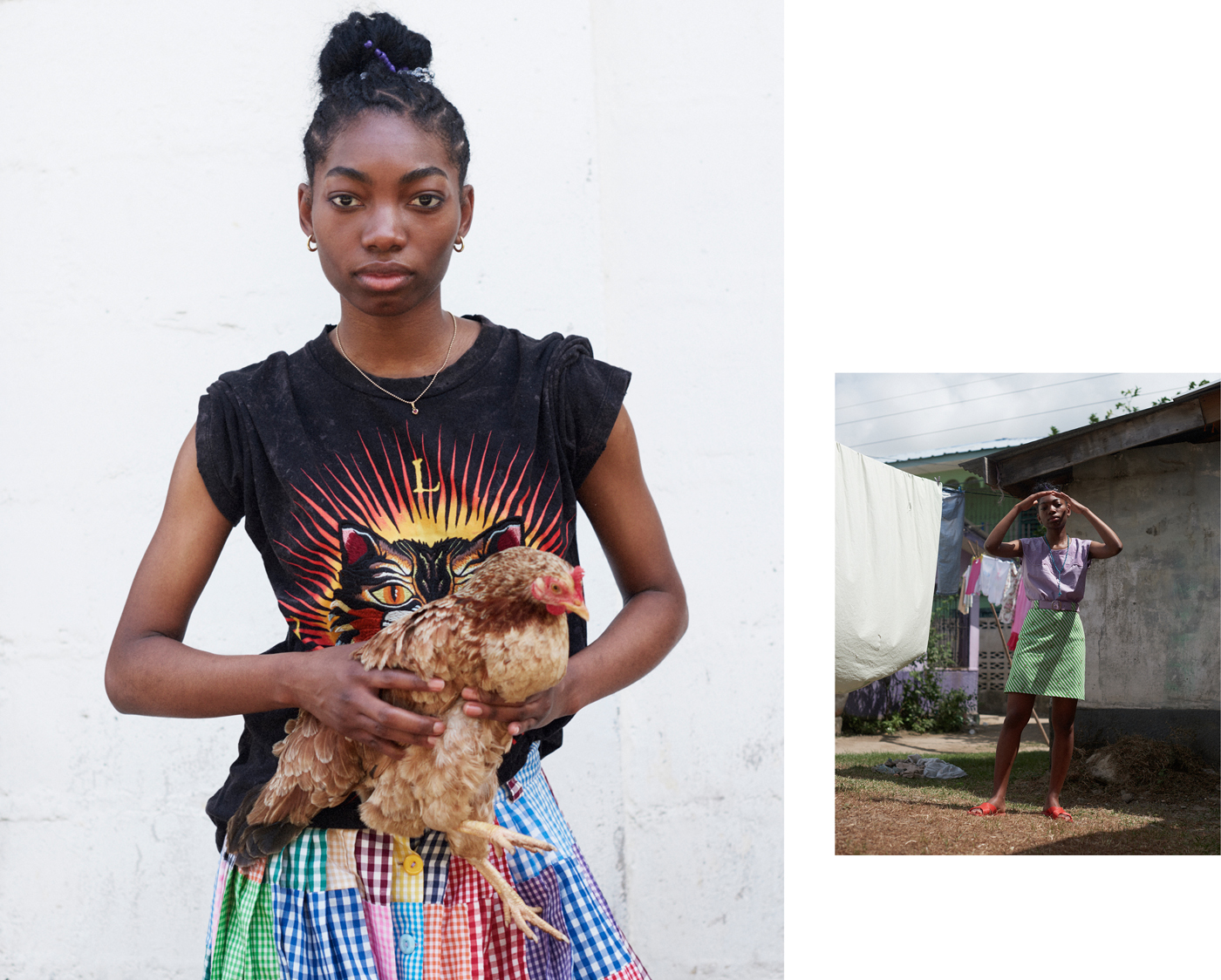 Left: T-shirt by Gucci. Traditional Garifuna skirt.Right: Traditional Garifuna top and belt. Skirt by Carven. All sandals throughout from local market.