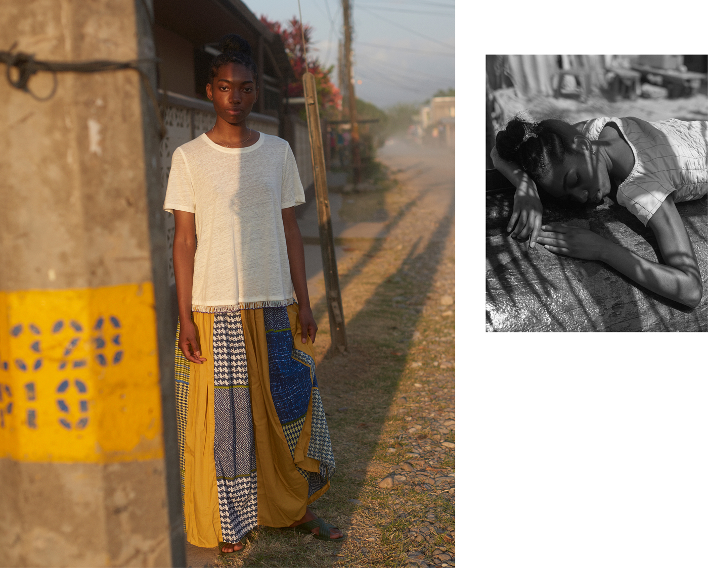 Left: Top by Derek Lam 10 Crosby. Traditional Garifuna skirt from ODECO.Right: Top by Drome.