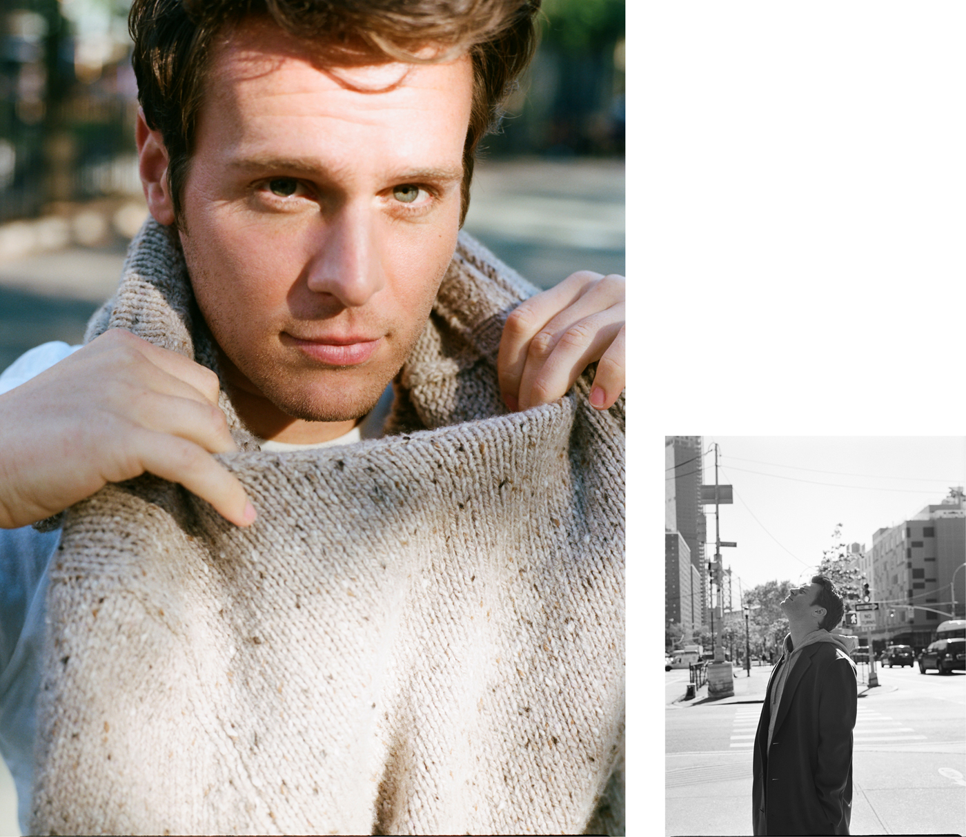Left: Sweater by Deveaux. T-shirt by Hanes.Right: Coat by Acne Studios. Sweatshirt by Calvin Klein.