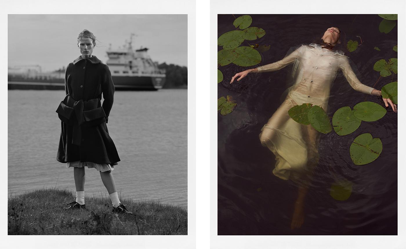 Left: Coat, Henrik Vibskov. Vintage skirt and shoes.Right: Coat by Stutterheim. Dress by Stylein.