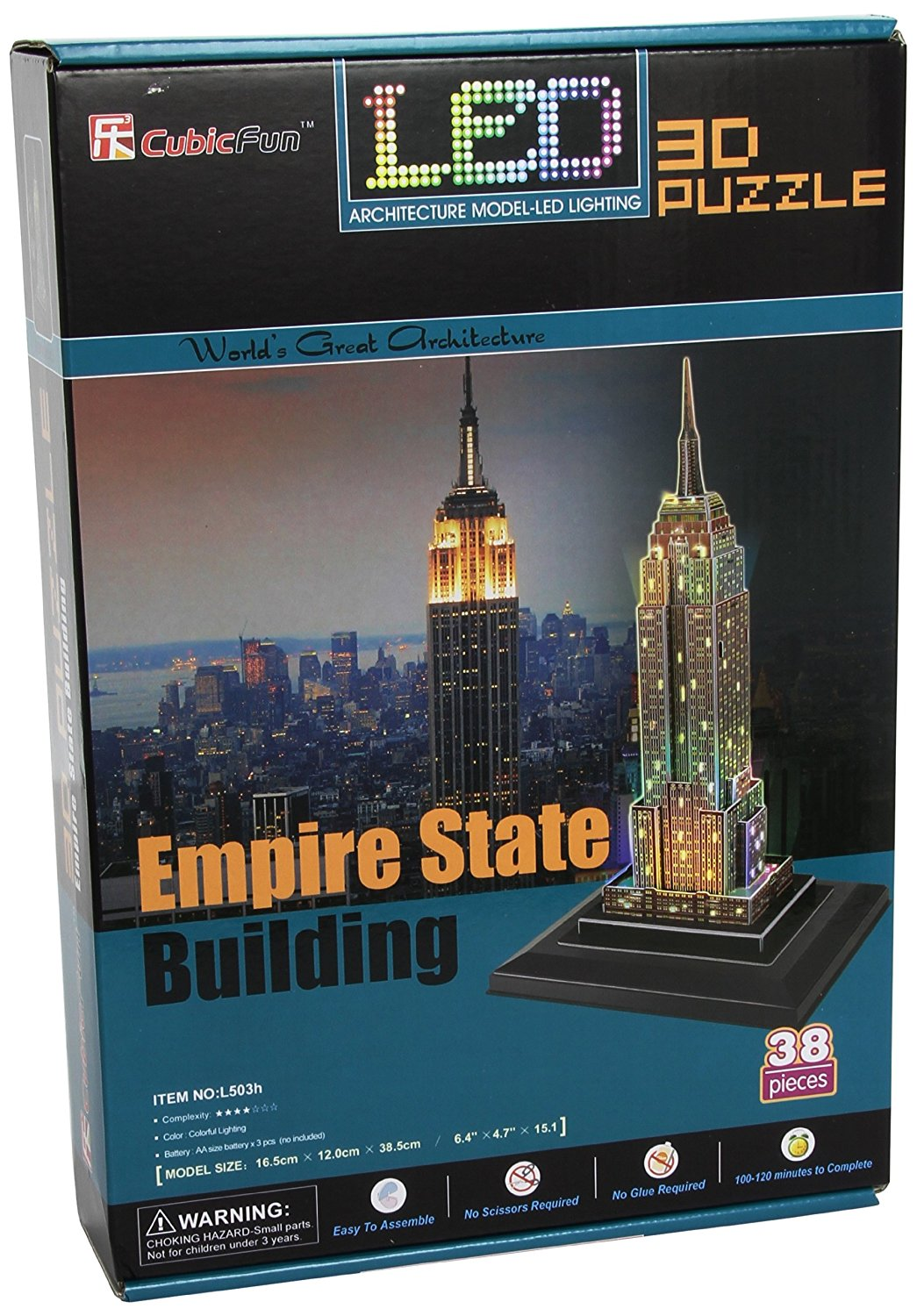 Empire State Building 3D Puzzle with LED 38 Pieces-