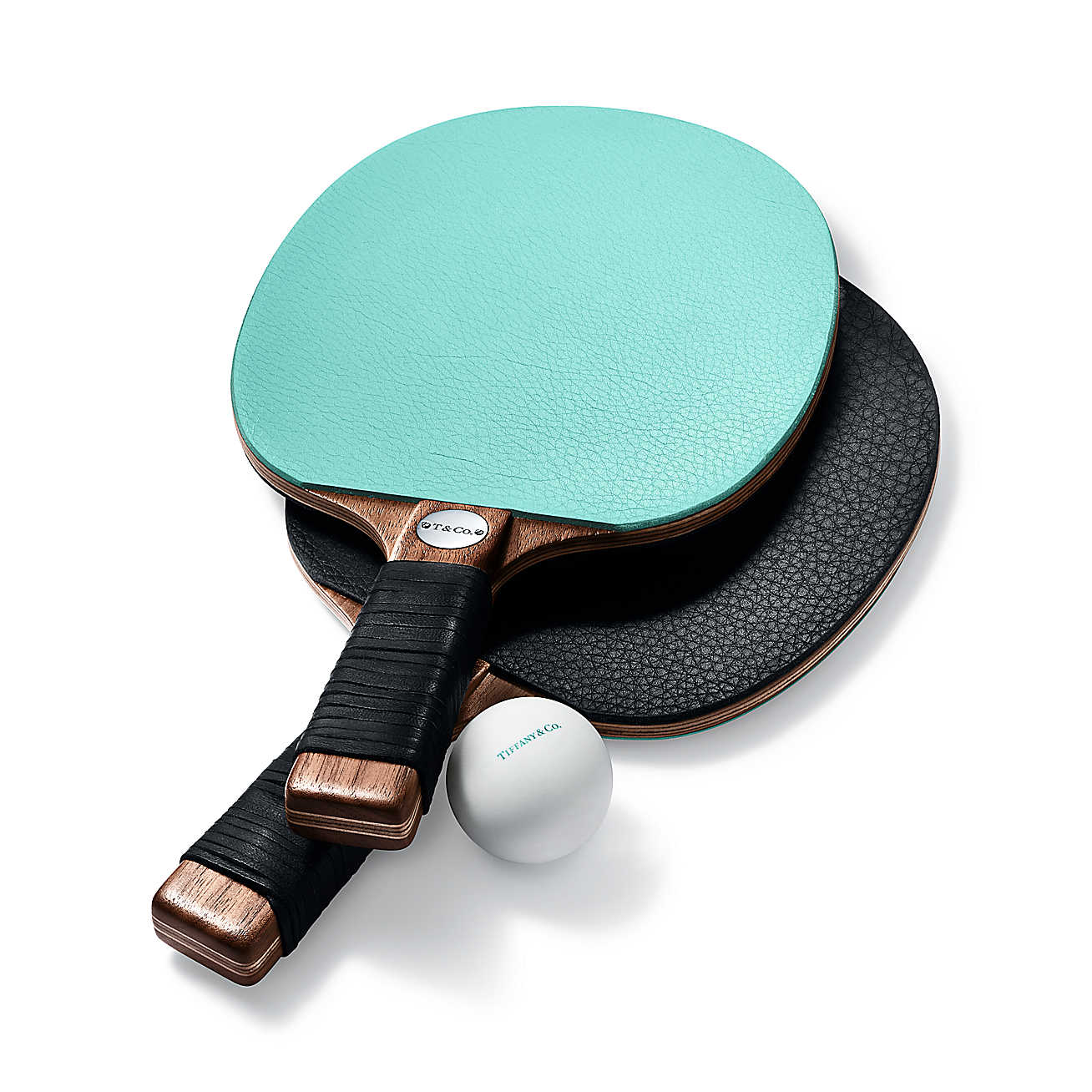 Leather and Walnut Table Tennis Paddles