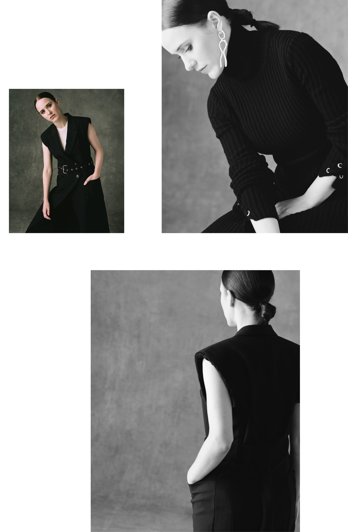 Top left and bottom: All clothing by 3.1 Phillip Lim.Top right: Dress by Maje. Earrings by Alta Ora.