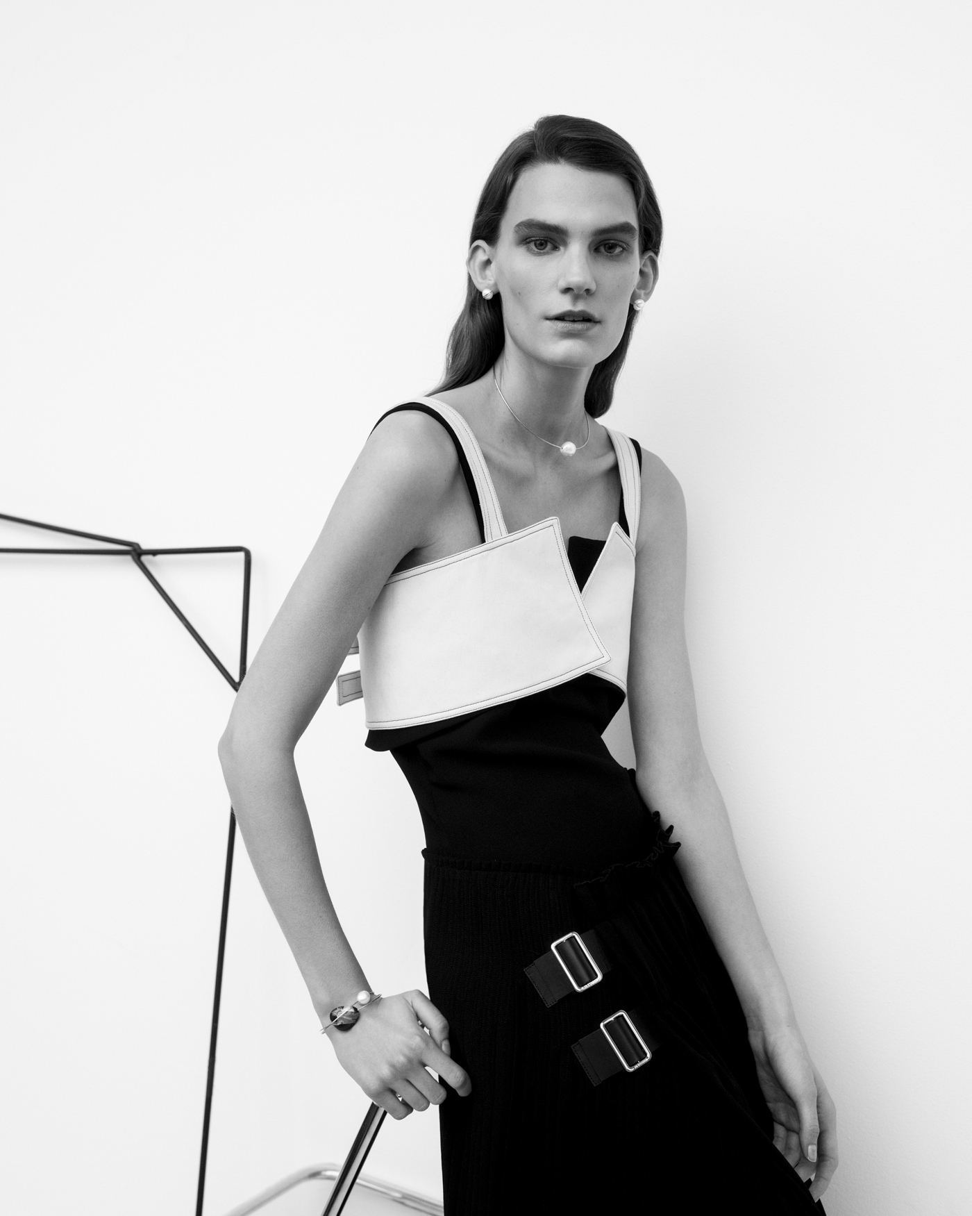 All clothing by Jil Sander. All jewelry by Mary MacGill.