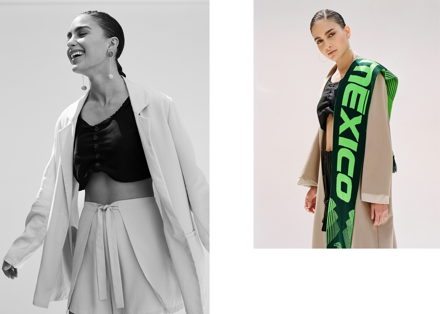 Left: Jacket and shorts by Shaina Mote. Top by Poche. Earrings by Modern Weaving.Right: All clothing by Poche. Earrings by Devon Pavlovits. Scarf, photographer's own.