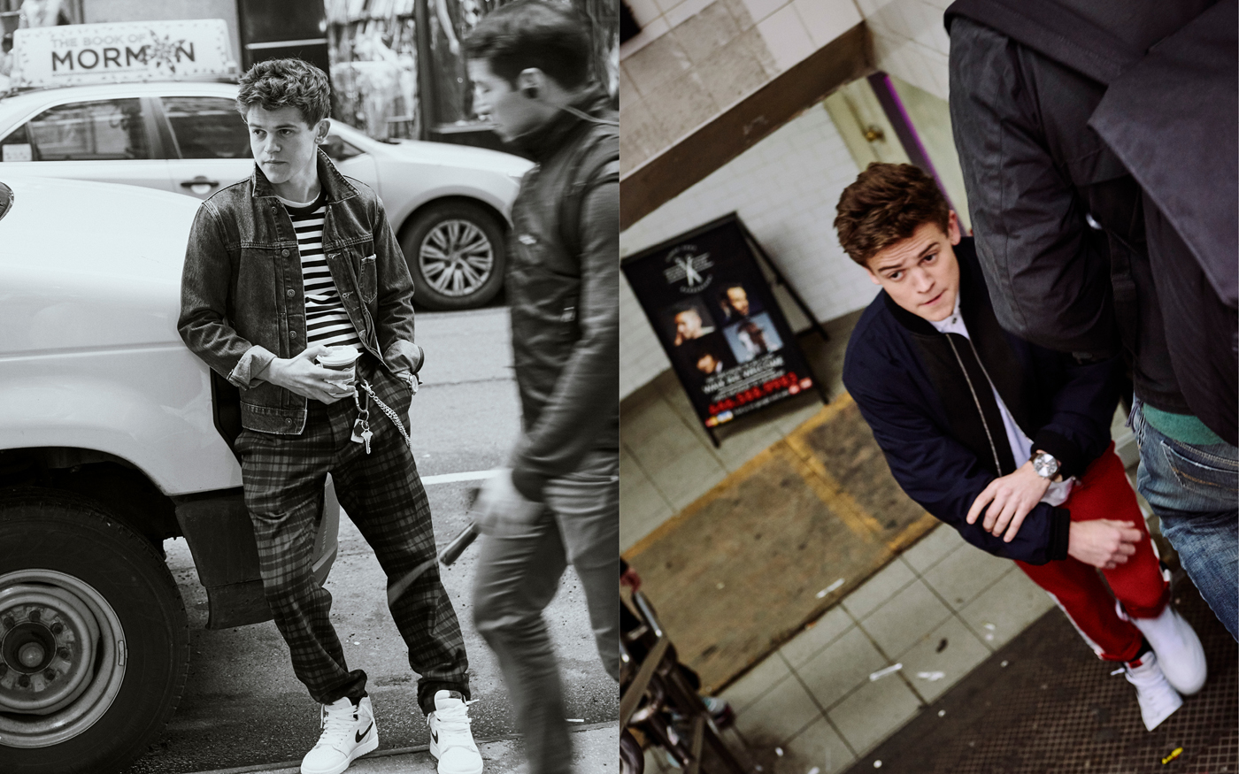 Left: Jacket by Levi's. T-shirt by Ami. Trousers by Todd Snyder. Sneakers, worn throughout, by Nike.Right: Jacket by Louis Vuitton. Shirt by Rag & Bone. Trousers by Topman.