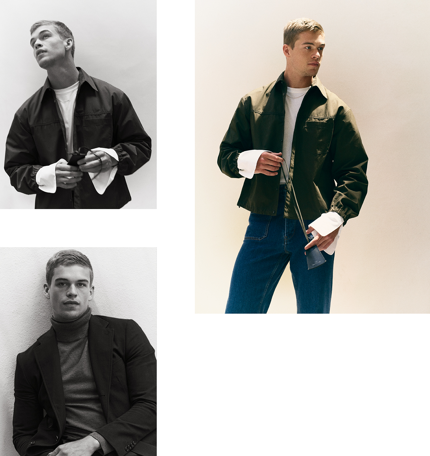 Top: Jacket by 3.1 Phillip Lim. Shirt by Dries Van Noten. Jeans by Loewe.Bottom left:  Jacket by Hermès. Sweater by A.P.C.