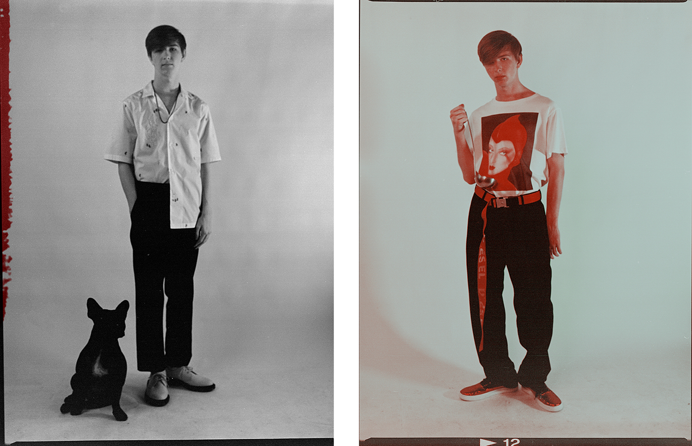 Left: Shirt by Salvatore Ferragamo. T-shirt by Topman. Trousers by McQ. Shoes by Dr. Martens. Necklace, talent's own.Right: All clothing by Stella McCartney. Belt by Diesel. Sneakers by Ports 1961.