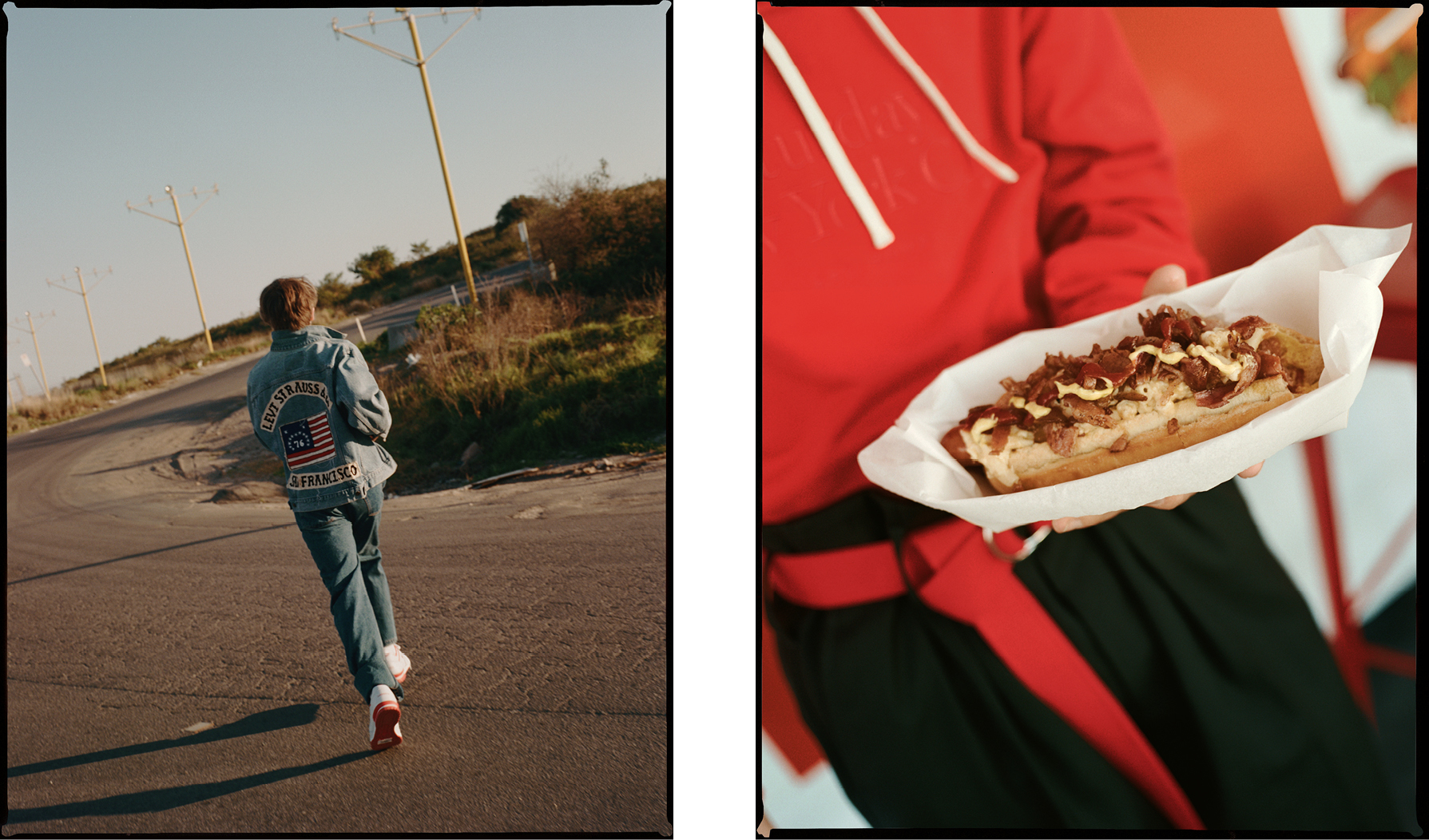 Left: Jacket by Levi's from Route 66, Sydney. Jeans by Lacoste. Sneakers by Reebok.Right: Sweatshirt by Saturdays NYC. Trousers by Song for the Mute. Belt, stylist's own.