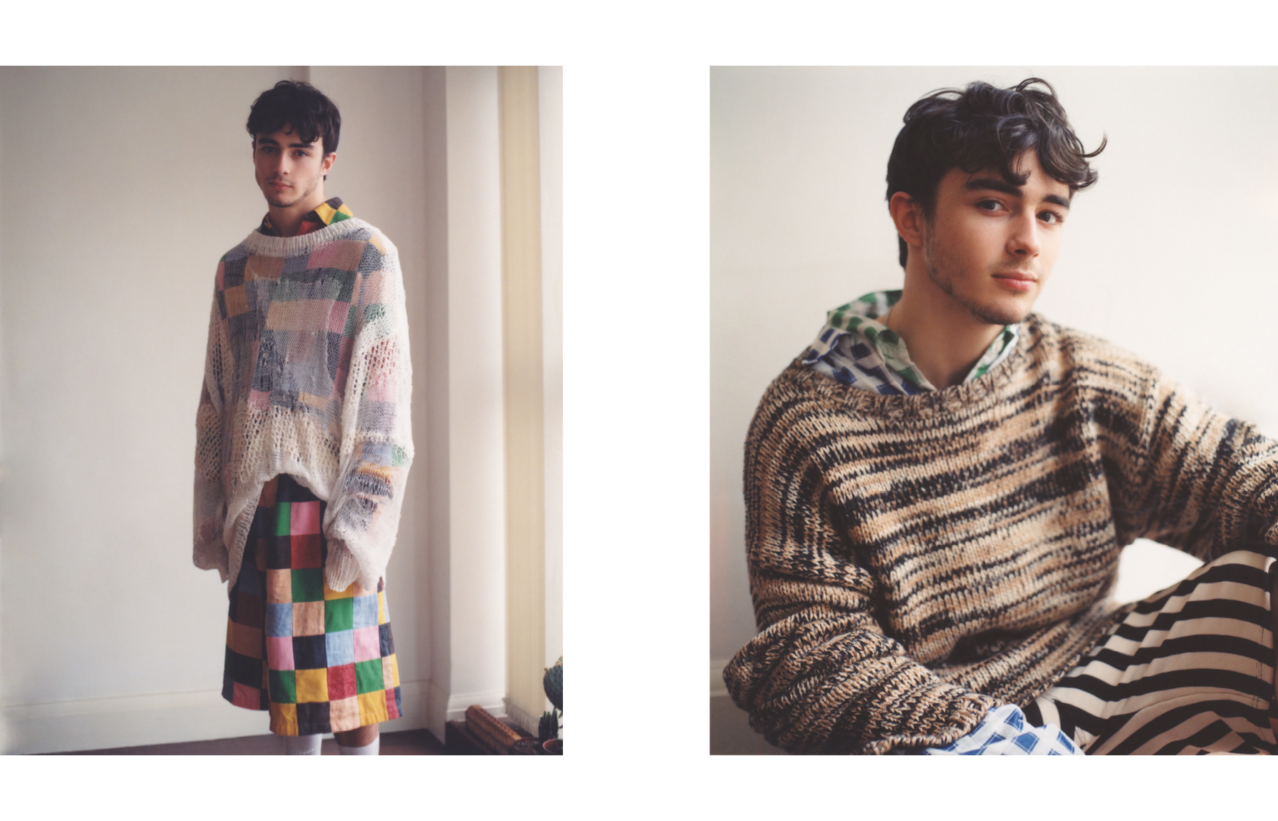Left: Sweater by Christian Dada. Shirt and shorts by Loewe.Right: Sweater by Joseph. Shirts and shorts by Marni.