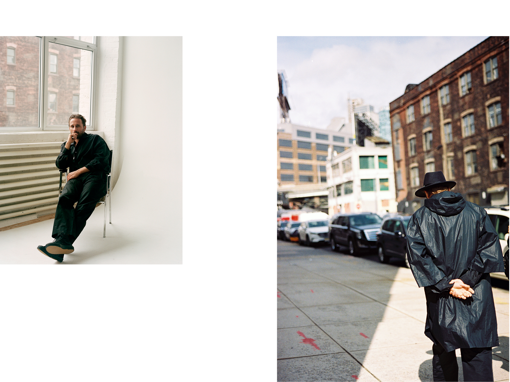 Left: All clothing by Lemaire. Sneakers by Veja.Right: Coat by Uniqlo x JW Anderson. Trousers by Lemaire and Sunspel. Hat, stylist's own.
