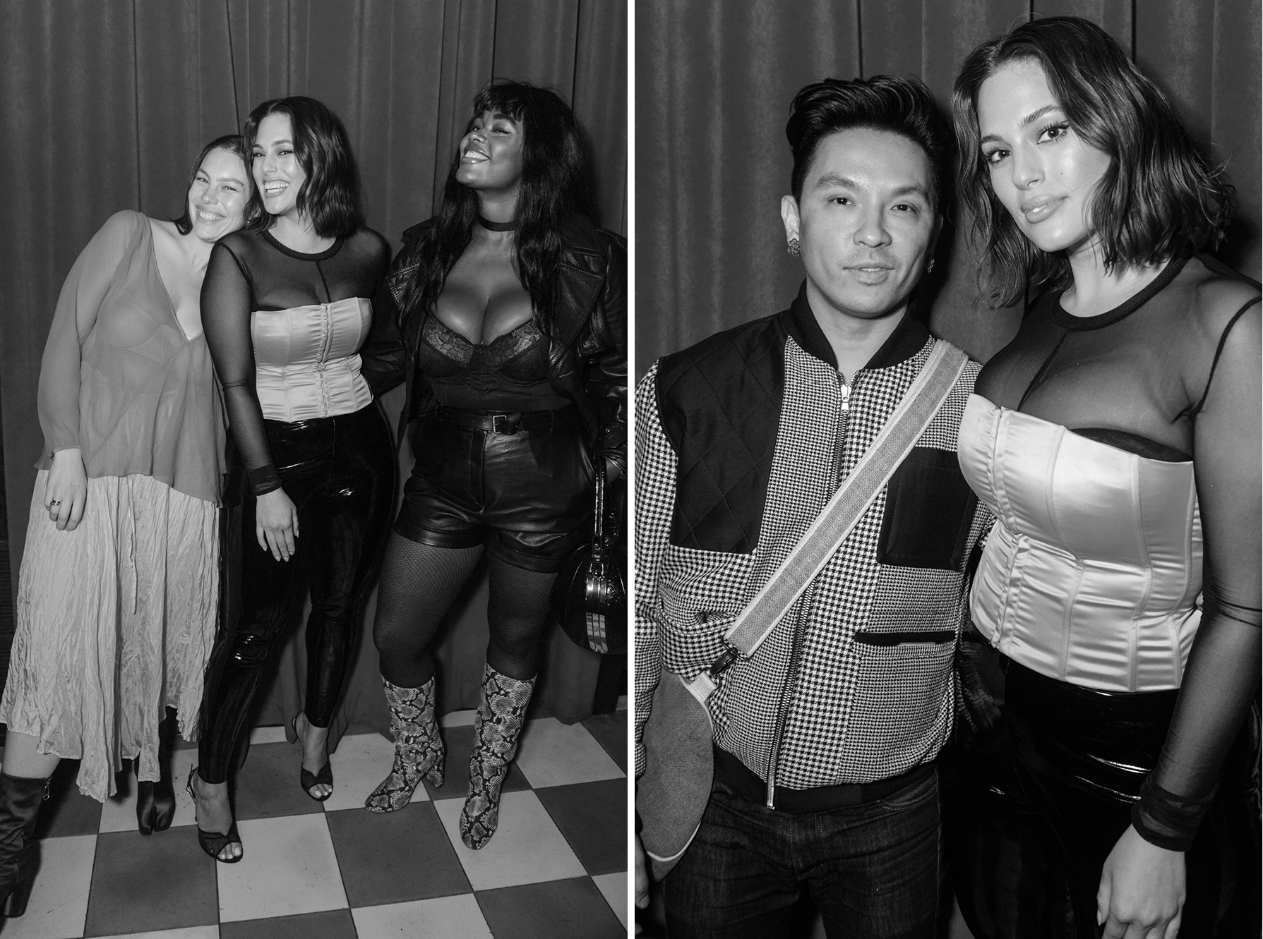 Left: Georgia Pratt, Ashley Graham, and Precious LeeRight: Prabal Gurun and Ashley Graham