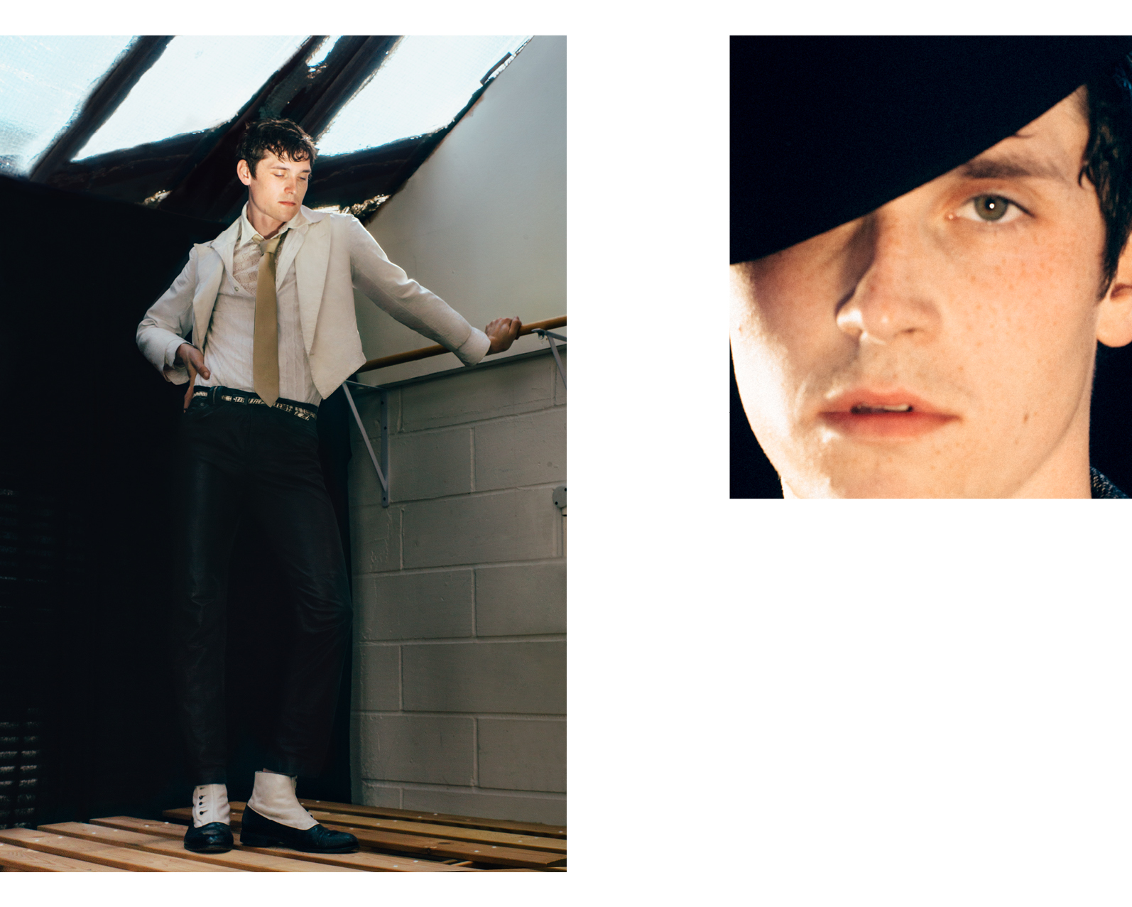 Left: Jacket, tie, and belt, stylist's own. Shirt by Pierre Cardin. Shirt, worn underneath, by Hugo Boss. Trousers by John Galliano. Shoes, worn throughout, from the Costume Studio, London.Right: Hat by Davide Cenci.