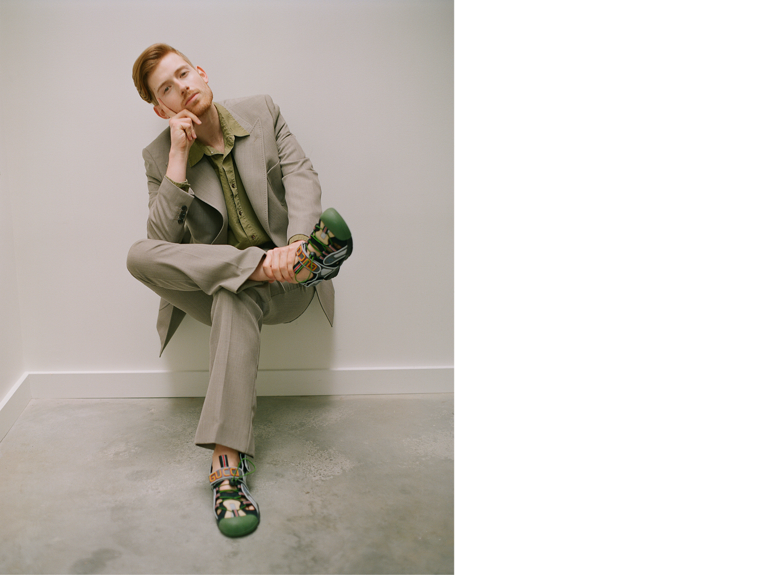 Jacket and trousers by Stella McCartney. Shirt by Sies Marjan. Sandals by Gucci.