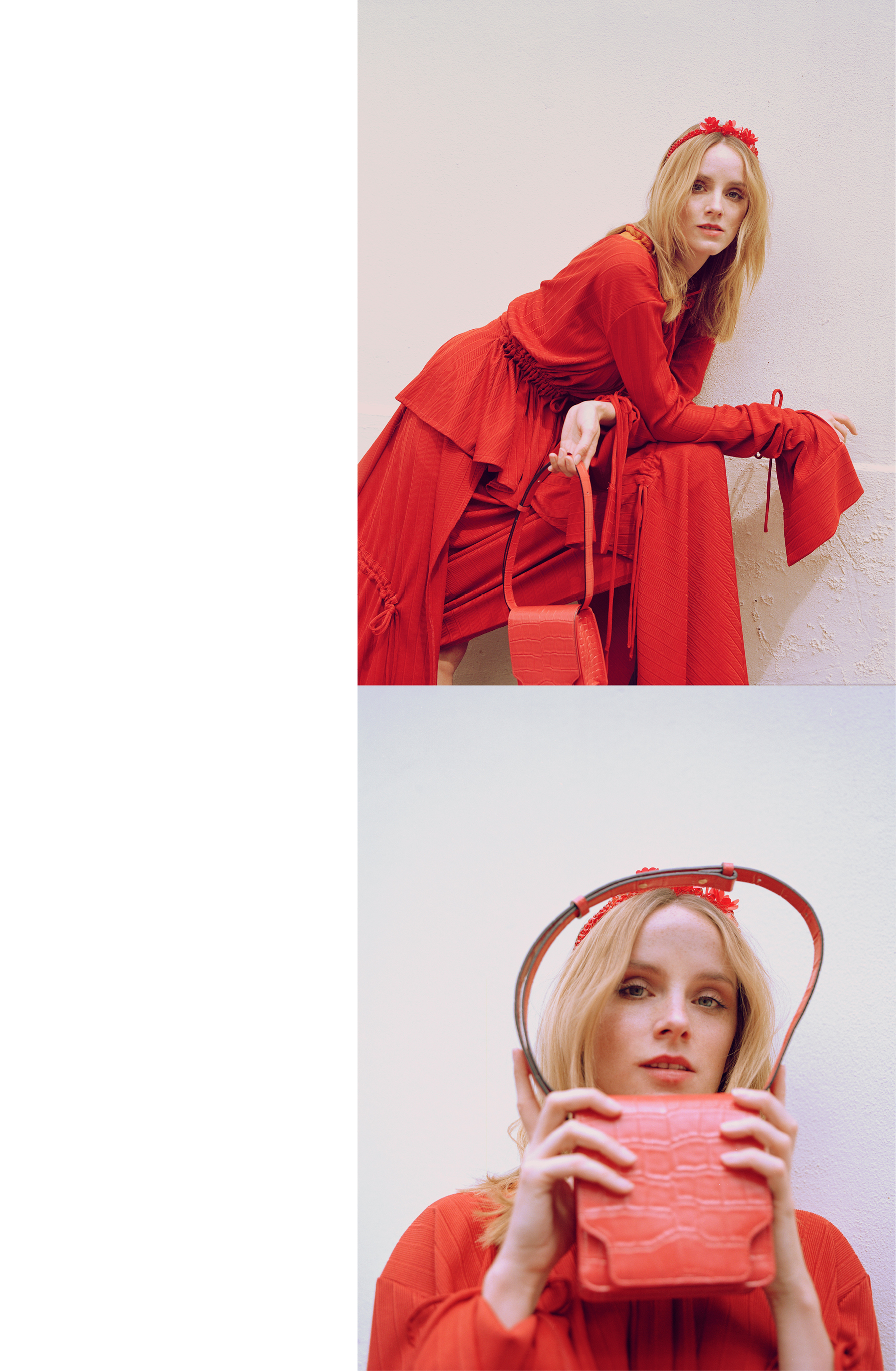 All clothing by Richard Malone. Bag by Marge Sherwood. Headband by Simone Rocha.