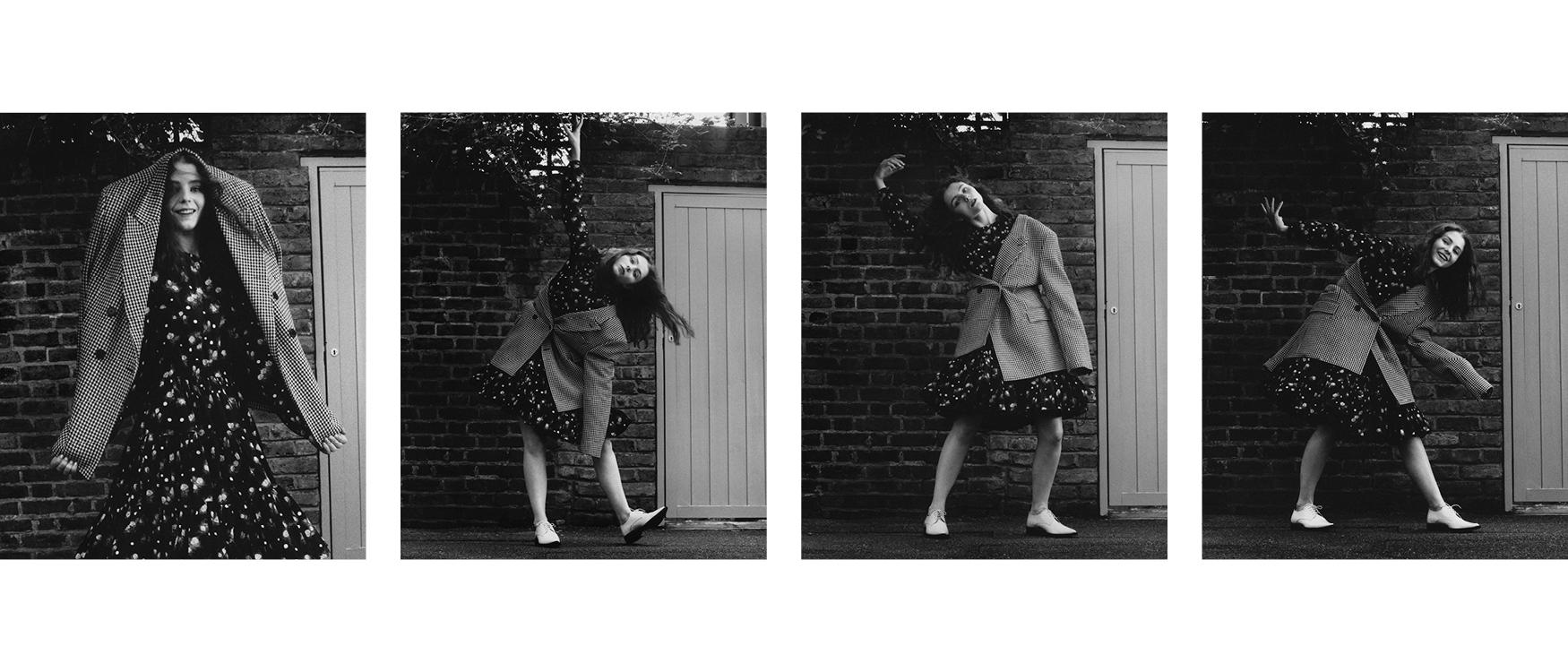 Jacket and shoes by AMI Paris. Dress by Miu Miu.