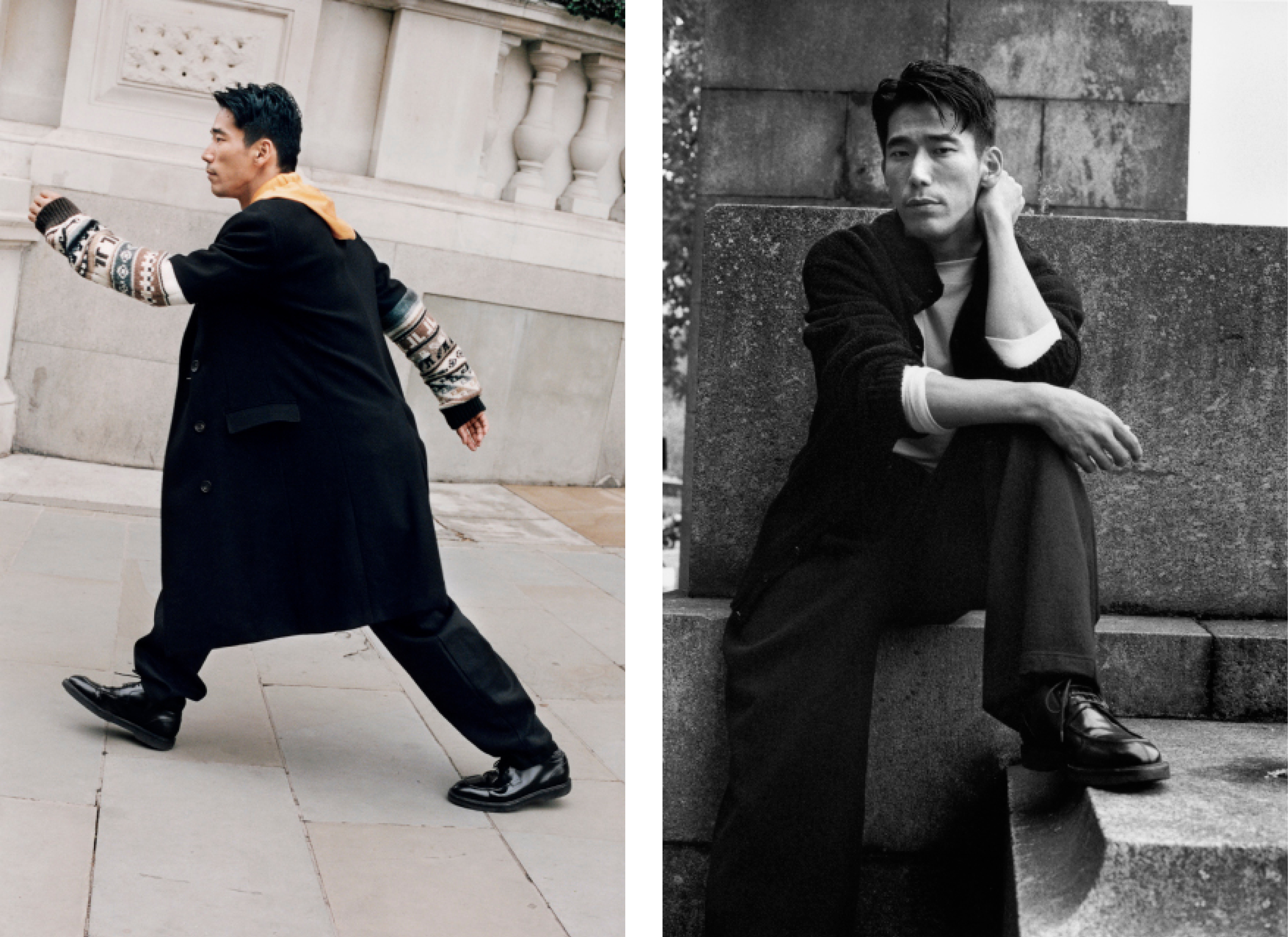 Left: Coat and top by Lanvin. Trousers by Chalayan. Shoes, worn throughout, by Dries Van Noten.Right: Sweater and trousers by Yohji Yamamoto. Top by Margaret Howell.